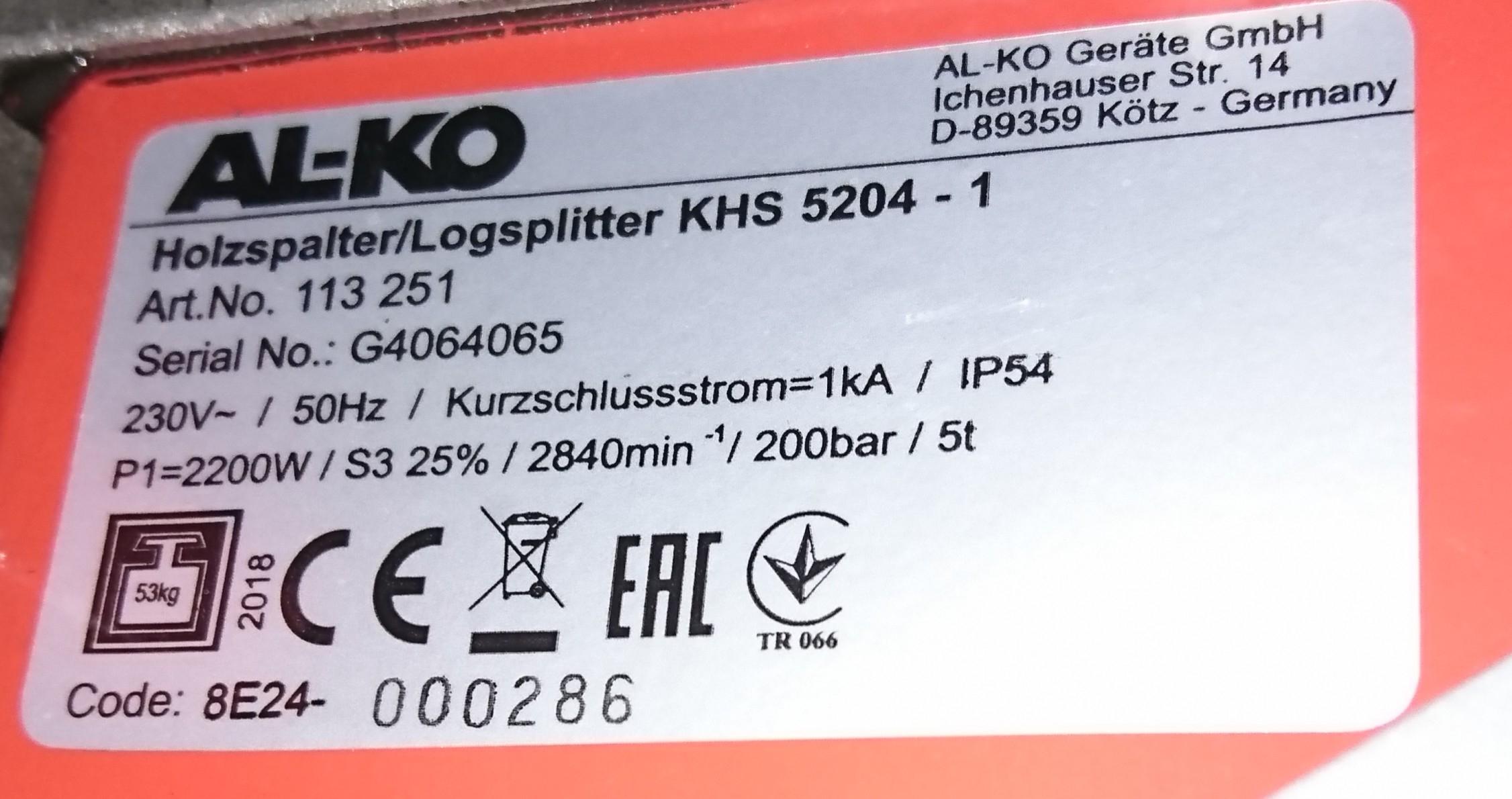 Maskinskylt AL-KO KHS 5204